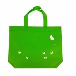 12 petits sacs cabas intissés verts motifs papillon avec soufflet 30+10x26cm - 7929