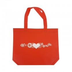 12 petits sacs cabas intissés rouges motifs coeur avec soufflet 30+10x26cm - 7934