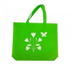 12 sacs cabas intissés verts motifs fleurs avec soufflet 36+10x32cm - 7937