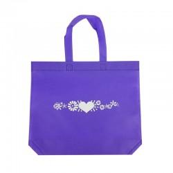 12 sacs cabas intissés mauves motifs coeurs avec soufflet 36+10x32cm - 7939