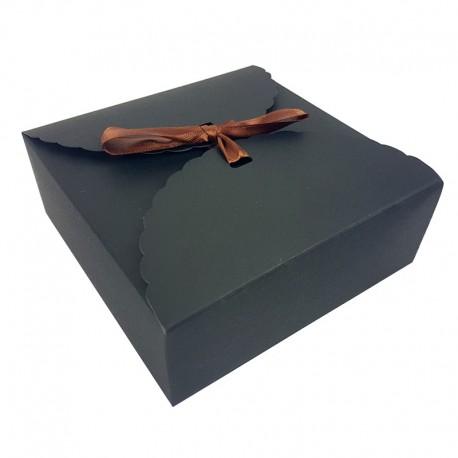 Lot de 12 boîtes pliables en carton noir 14x14x5cm - 7952