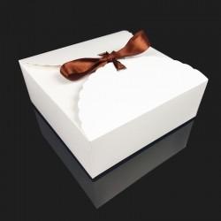 Lot de 12 boîtes pliables en carton pelliculé blanc 14x14x5cm - 7951