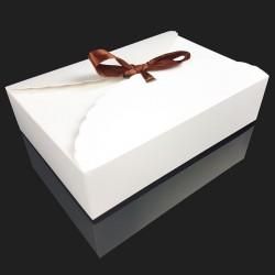 12 grandes boîtes pliables en carton pelliculé blanc 20x14x5cm - 7957
