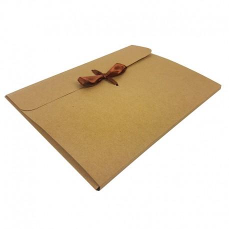12 enveloppes en carton de couleur kraft naturel 24x18x0.7cm - 7959