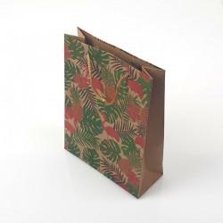 12 sacs cadeaux kraft motif flamants roses et fleurs 19x8x24.5cm - 7887