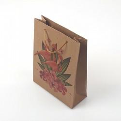 12 poches cadeaux kraft brun motif flamants roses et fleurs 24x8x33cm - 7889