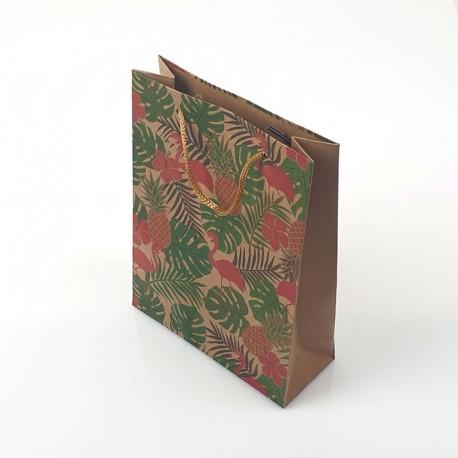 12 poches cadeaux kraft brun motif flamants roses et feuilles 24x8x33cm - 7890