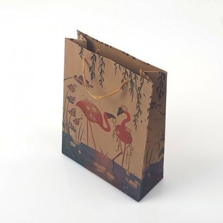 12 sacs cadeaux kraft motif flamants roses 19x8x24.5cm - 7888