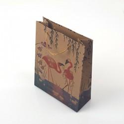 12 poches cadeaux kraft brun motif flamants roses 24x8x33cm - 7891