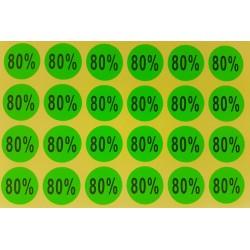 Lot de 240 étiquettes de remise adhésives 80% vertes - 7926v