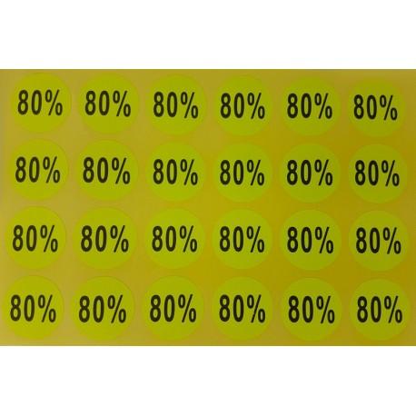 Lot de 240 étiquettes de remise adhésives 80% jaunes - 7926j