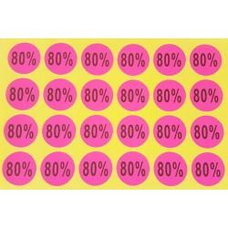 Lot de 240 étiquettes de remise adhésives 80% rose fluo - 7926r