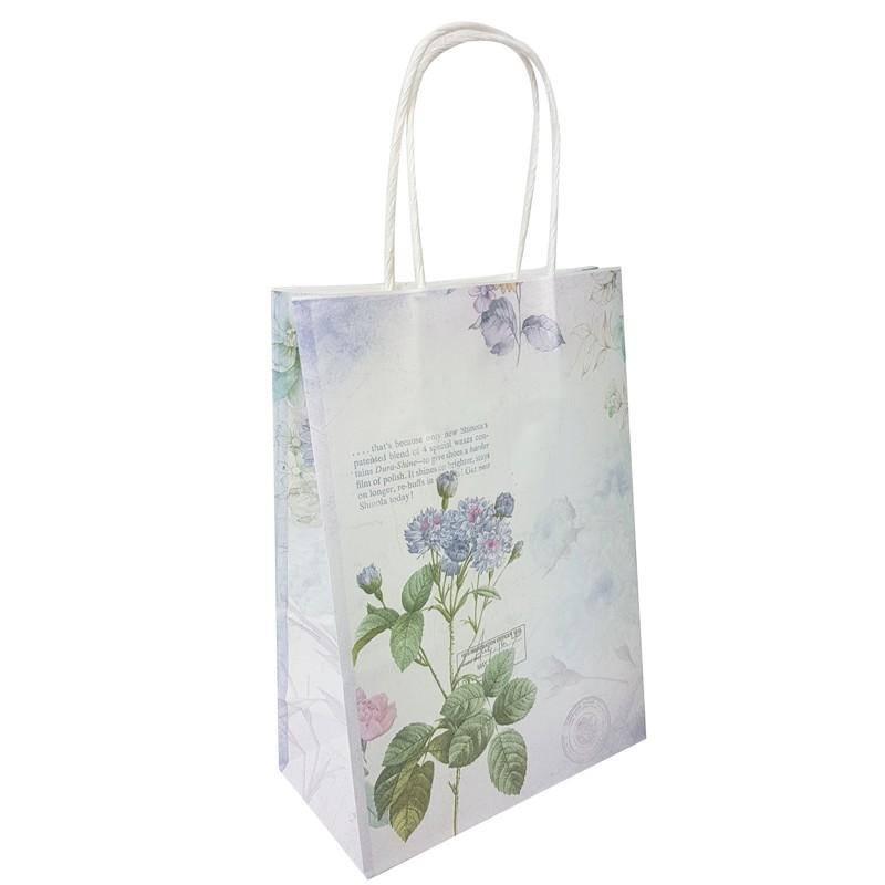 Sacs kraft vintage poignées torsadées, emballage kraft mauve à fleurs.