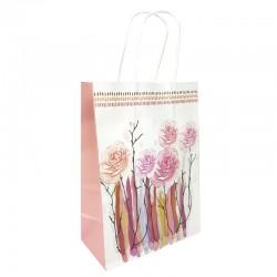 12 petits sacs en papier kraft à fleurs soufflet vieux rose 15x8x21cm - 9001