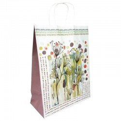 12 grands sacs en papier kraft à fleurs soufflet aubergine 25.5x12x33cm - 9008
