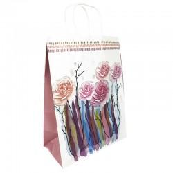 12 grands sacs en papier kraft à fleurs soufflet violet prune 25.5x12x33cm - 9009