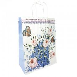 12 grands sacs en papier kraft à fleurs soufflet lavande 25.5x12x33cm - 9010
