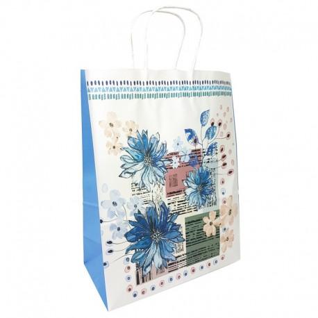 12 grands sacs en papier kraft à fleurs soufflet bleu 25.5x12x33cm - 9011