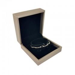 Écrin pour brecelet ou montre aspect simii cuir beige champagne 9x9x4cm - 10118