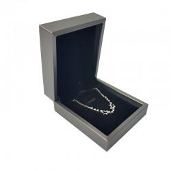Écrin pour chaîne et pendentif aspect simili cuir gris 7.5x8.5x3.5cm - 10124