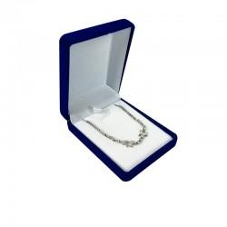 1 écrin bijoux en velours bleu roi pour chaîne 6x7.5x3cm - 10125