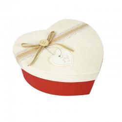 Petite boîte cadeaux coeur bicolore rouge et écrue 13x16x6cm - 9038p