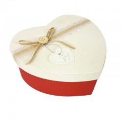 Boîte cadeaux coeur bicolore rouge et écrue 15x18x7.5cm - 9039m