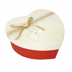 Grande boîte cadeaux coeur bicolore rouge et écrue 18x21x9cm - 9040g