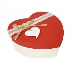 Petite boîte cadeaux en forme de coeur écrue et rouge 13x16x6cm - 9041p