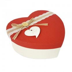 Boîte cadeaux en forme de coeur écrue et rouge 15x18x7.5cm - 9042m