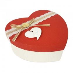 Grande boîte cadeaux en forme de coeur écrue et rouge 18x21x9cm - 9043g