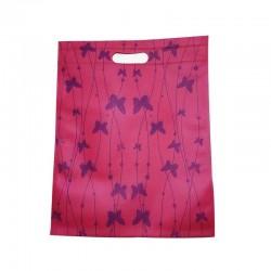 12 sacs non-tissés couleur rose foncé et imprimé de papillons 25x33cm - 9046