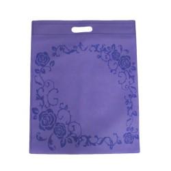 12 sacs non-tissés couleur mauve et imprimé de roses 25x33cm - 9047