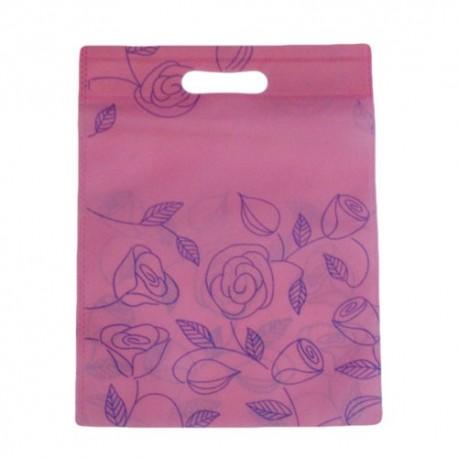 12 sacs non-tissés roses imprimé de roses 30x37cm - 9052
