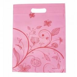12 sacs non-tissés couleur rose clair et imprimé de fleurs 25x33cm - 9045