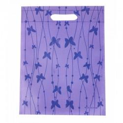 12 sacs non-tissés couleur mauve et imprimé de papillons 25x33cm - 9048
