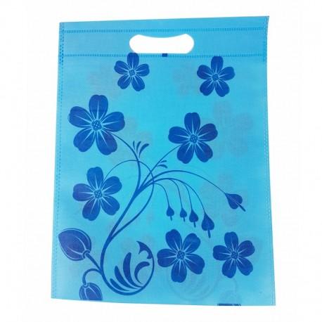 12 sacs non-tissés couleur bleu clair et imprimé de fleurs 25x33cm - 9050