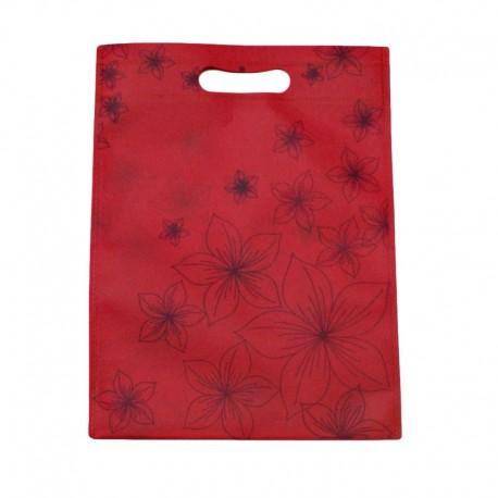 12 sacs non-tissés rose foncé imprimé de fleurs 30x37cm - 9053