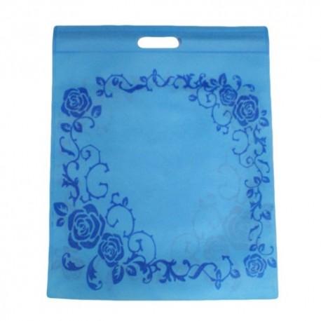 12 sacs non-tissés bleu clair imprimé roses 30x37cm - 9056