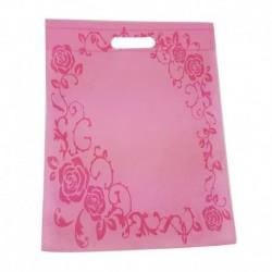 12 grands sacs non-tissés rose clair imprimé couronne de roses 35x44cm - 9058