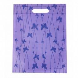 12 grands sacs non-tissés mauves imprimé papillons 35x44cm - 9061