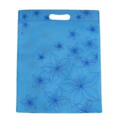 12 grands sacs non-tissés bleus imprimé de fleurs 35x44cm - 9062