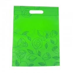 12 grands sacs non-tissés vert pomme imprimé de roses 35x44cm - 9063