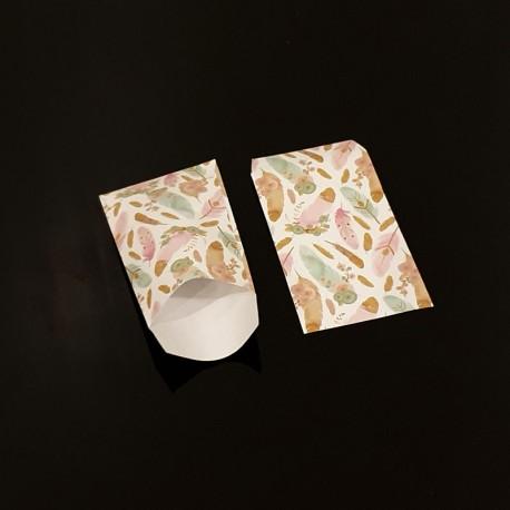 100 petits sachets cadeaux papier 6x10cm motif plumes colorées - 8090