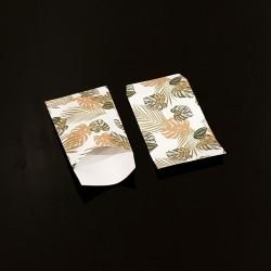 100 petits sachets cadeaux papier 6x10cm motif feuilles tropicales - 8091
