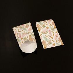 100 pochettes cadeaux 7x13cm motif plumes colorées - 8097