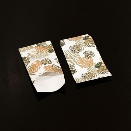 100 pochettes cadeaux 7x13cm motif feuilles tropicales - 8098