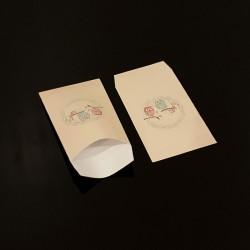 100 pochettes cadeaux 7x13cm motif hiboux - 8102