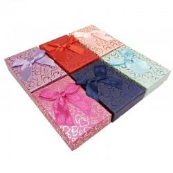 24 petits écrins pour parure 6 couleurs motifs coeurs brillants - 10132