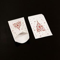 Lot de 100 sachets cadeaux blancs motif sapin de Noël rouge 11x17cm - 8104